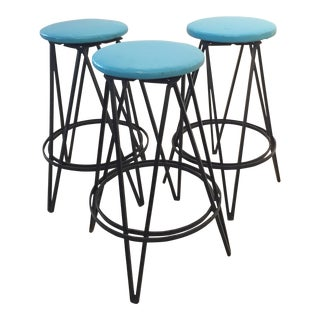 Iron Base Swivel Stool - Set of 3