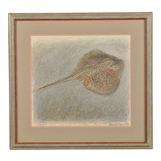 """""""Skate!"""" oil pastel and pencil on paper signed lower right by English artist Robert Jones and dated 1984."""