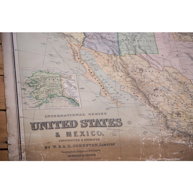 Image of USA & Mexico Antique Pull Down Map