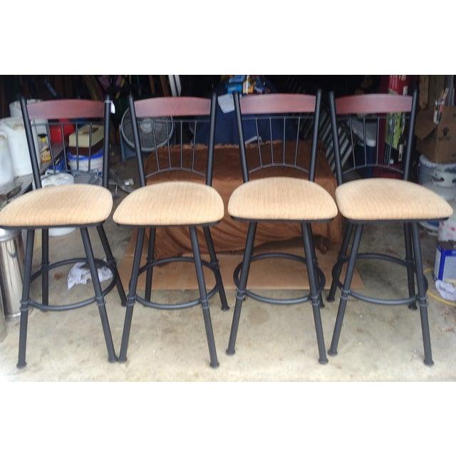 Image of Swivel Metal Bar Stools With Cushion - Set of 4