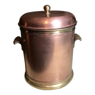 Vintage Hammered Copper & Brass Ice Bucket