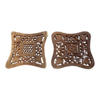 Hand Carved Shesham Wood Trivets - A Pair