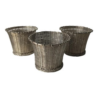 Silver Mesh Round Wire Baskets - Set of 3