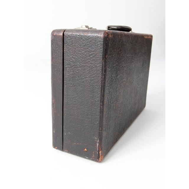 Vintage Black Leather Suitcase - Image 6 of 7