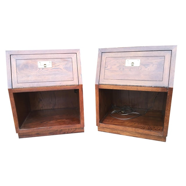 Pair of Henredon Campaign Nightstands or Side Tables - Image 1 of 4
