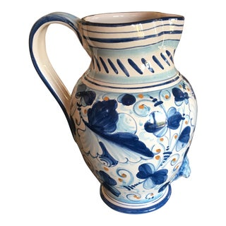 Italian Blue & White Ceramic Pitcher