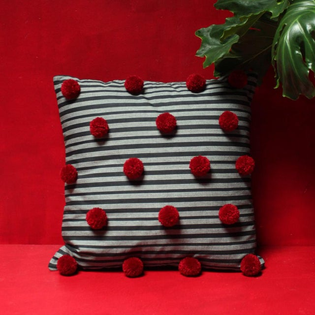 Black Lurik Pillow with Cranberry Red Pom-poms Tassels - Image 3 of 6