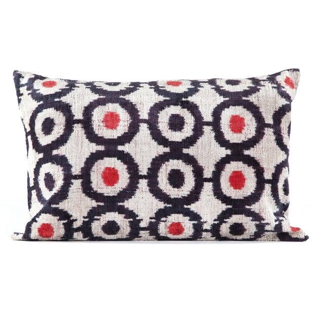 Image of Black & Red Silk Velvet Ikat Pillow