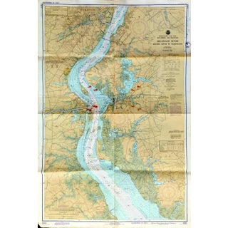 Vintage Delaware River Nautical Chart, 1977