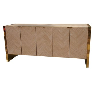 Brass and Travertine Credenza
