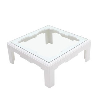 Square Modern Wave Pattern Carving White Lacquer Coffee Table