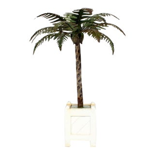 Pair of Tole Palm Tree Candle Holders