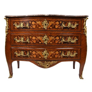 Late 19th Century Louis XV-style Marquetry Chest of Drawers