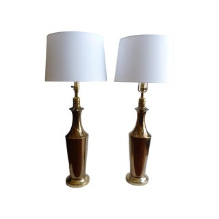 Golden Glazed Ceramic Lamps - A Pair