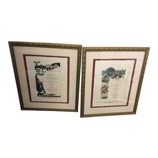 Antique Framed French Reveillon Menus - A Pair
