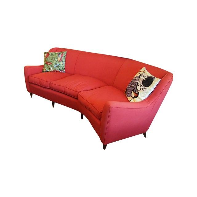 Mid-Century Modern Italian Red Sofa - Image 1 of 3