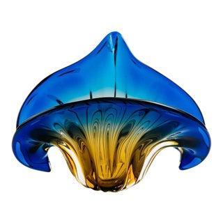 Art Deco Fleur-de-Lis Murano Vase in Vibrant Blue and Amber