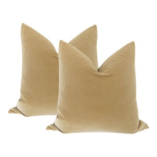 "22"" Camel Velvet Pillows - A Pair"