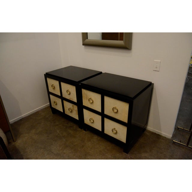 A Pair of French Moderne style Ebonized Wood and Vellum Bedside Cabinets - Image 3 of 7
