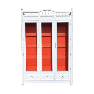 White and Orange Faux Bamboo China Cabinet
