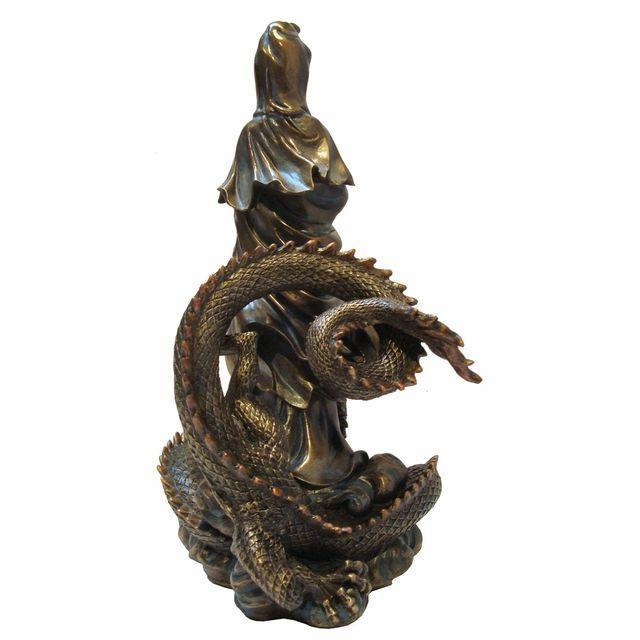 Asian Quan Yin & Dragon Statue - Image 4 of 6