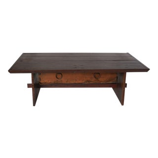 Rustic Coffee Table with Leather Bottom Drawer