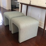 Image of Newly Upholstered Mid-Century Ottomans - A Pair