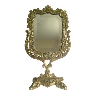 Vintage Neoclassical Cast Solid Brass Floral Vanity Mirror
