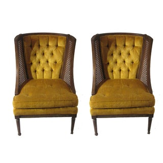 Mid-Century Caned Tufted Lounge Chairs - A Pair