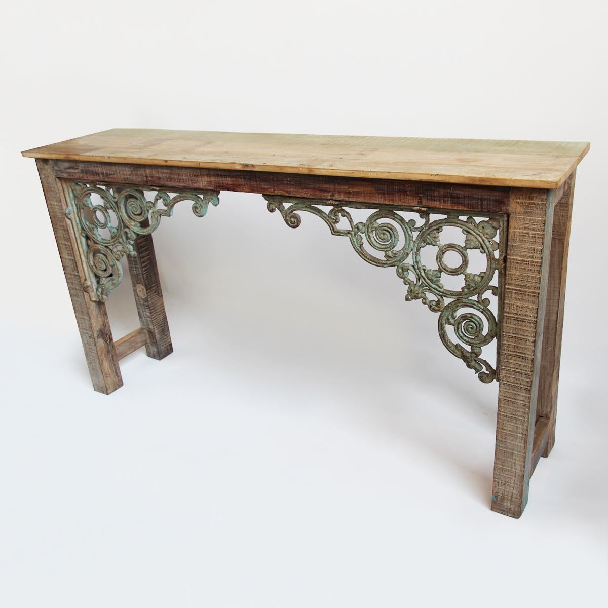 iron wood console table reclaimed wood amp iron console table chairish 4803