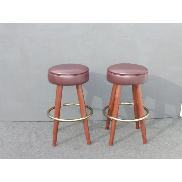 Mid-Century Modern Brown Vinyl Bar Stools - A Pair - Image 2 of 11