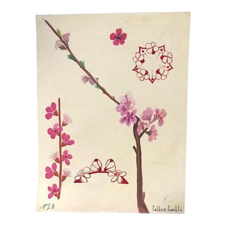 French Cherry Blossom Watercolor Design Study Signed