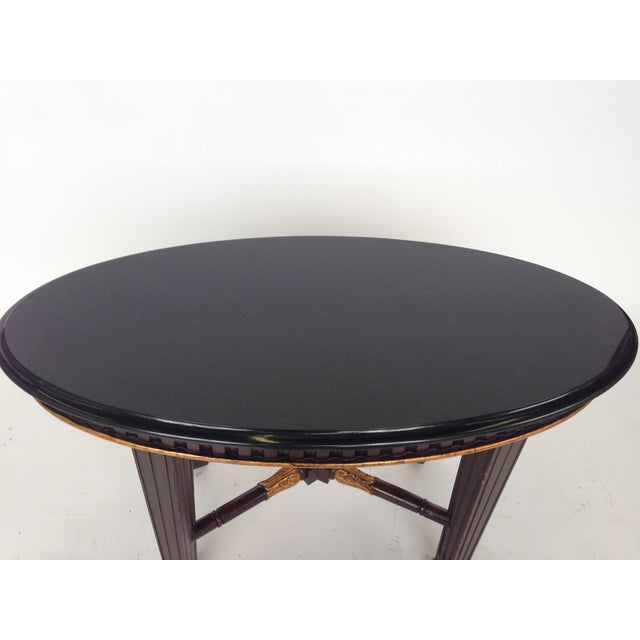 Oval Granite Coffee Table With Tapered Legs
