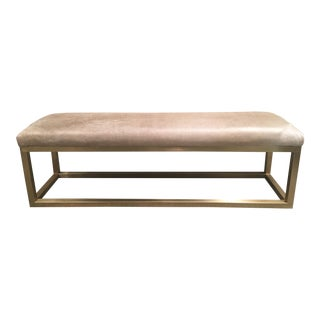 Taylor Burke Home Brass Champagne Cowhide Kelly Bench