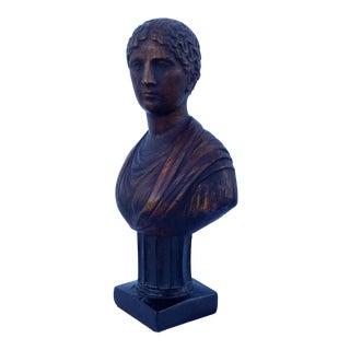 Plaster Gilt Bust of Goddess on Pedestal