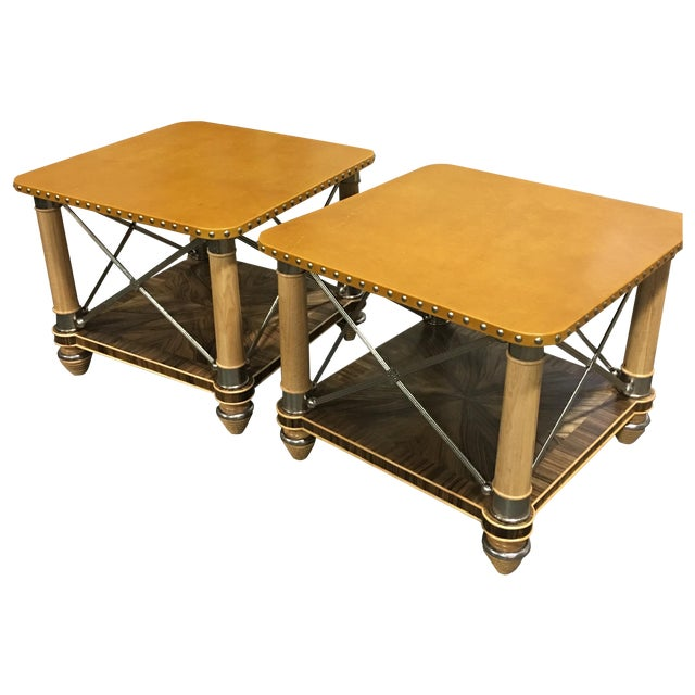 Ferguson-Copeland Leather Top Side Tables - A Pair - Image 1 of 6