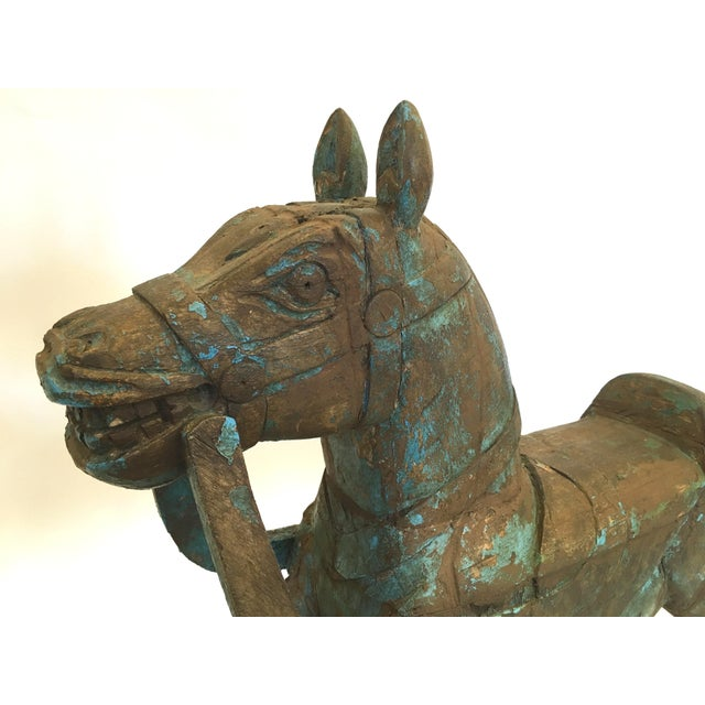 Image of Hand Carved Wooden Rocking Horse