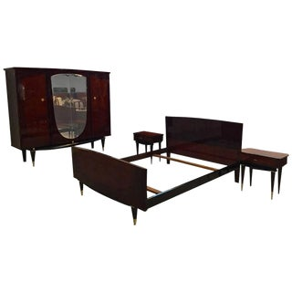 French Art Deco Bedroom Set - Bed, Nightstands and Armoire