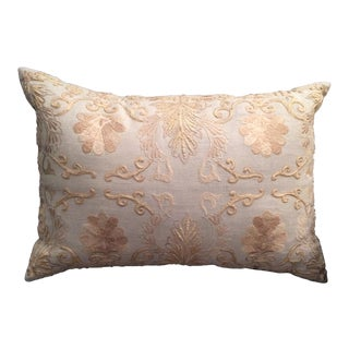 Embroidered Taupe Linen Pillow