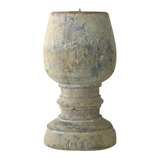 Candle Holder With Distressed Blue Paint