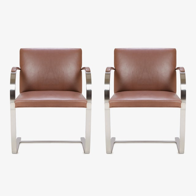 Mies Van Der Rohe for Knoll Cognac Leather Brno Flat-Bar Chairs, Pair - Image 3 of 9
