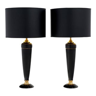 Vintage French Black & Gold Bakelite Lamps- A Pair