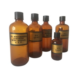 Vintage Amber Glass Rare Apothecary Bottles - 5