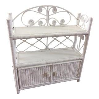 Vintage White Wicker Shelving Cabinet