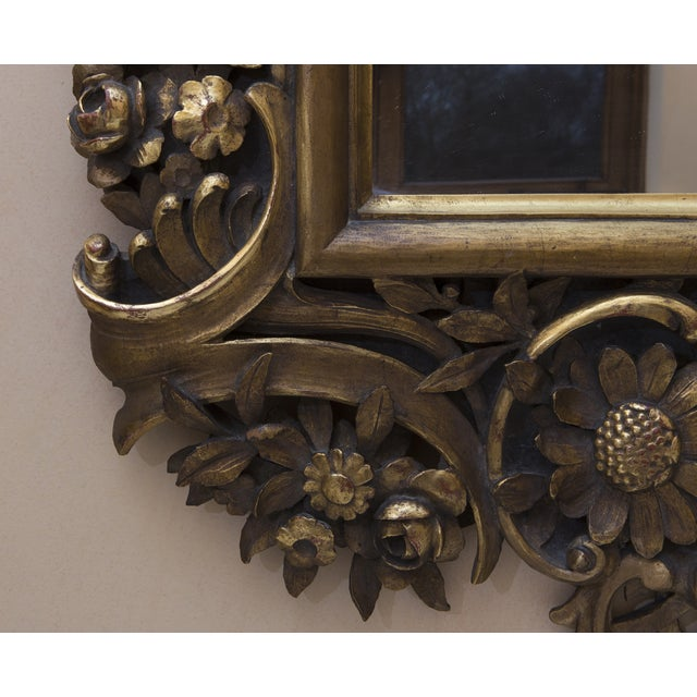 Carved Wood Mirror With Gilt Finish - Image 3 of 8