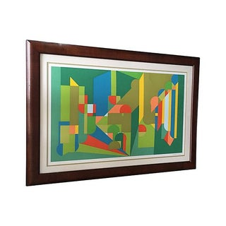 Green Geometric Serigraph by Moshe Givati