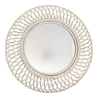 White Rattan Sunburst Mirror