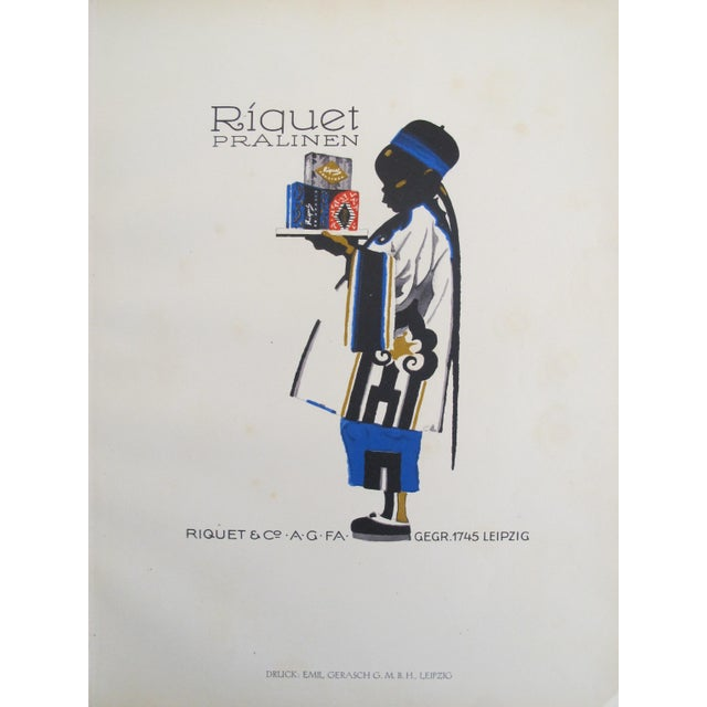 1926 German Poster, Riquet Pralinen, Boy with Tray - Image 3 of 3