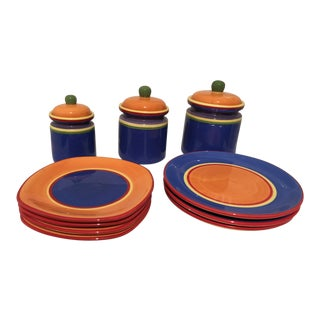 Dansk Caribe Colorful Bahama Blue Canisters Plates