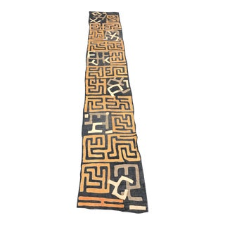 "African Tribal Art Handwoven Kuba Cloth From DRC - 11'1"" X 1'11"""